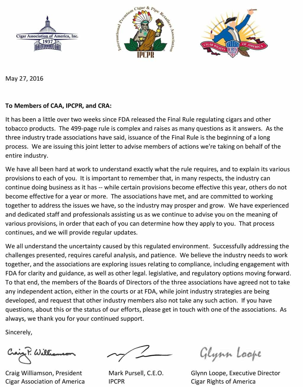 Joint Statement of CRA, CAA, and IPCPR